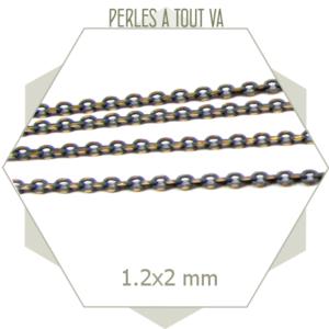 1m chaîne grise et laiton 1,2mm, chaîne colorée à maillons ovales