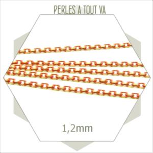 1m chaîne orange pêche 1,2mm, chaîne atypique pour création de bracelets