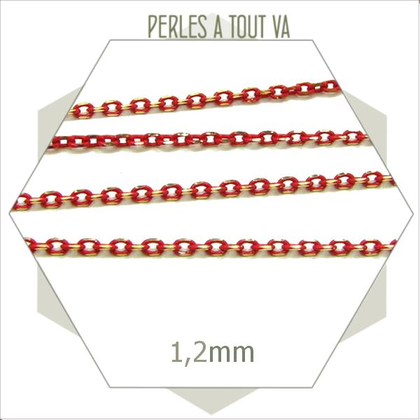 1m chaîne ovale laiton rouge 1,2mm, chaîne pour création de bijoux