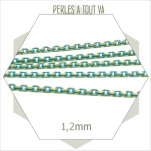 1m chaîne maillons ovales turquoise laiton 1,2mm, matériel pour bijoux