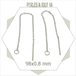 6 chaînes de boucles d'oreilles en acier inox