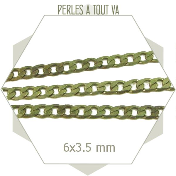 1m chaîne gourmette plate  3.5 mm bronze, matériel pour bijoux