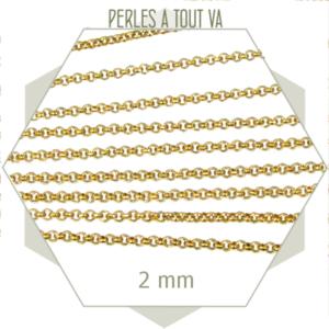 1m de chaîne rolo en acier doré, chaîne jaseron pour création de bijoux