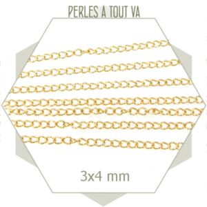 1m de chaînette de réglage en acier doré, chaîne gourmette pour création de bijoux