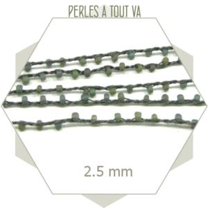 2 m de chaîne de perles tressées gris sablé