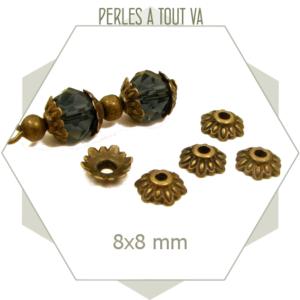 30 chapeaux de perles feuilles bronze