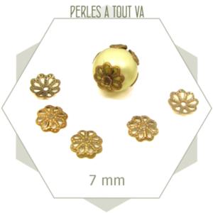50  chapeaux de perles 7 mm bronze