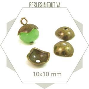 chapeaux de perles coupelles carrées bronzes - perles à tout-va