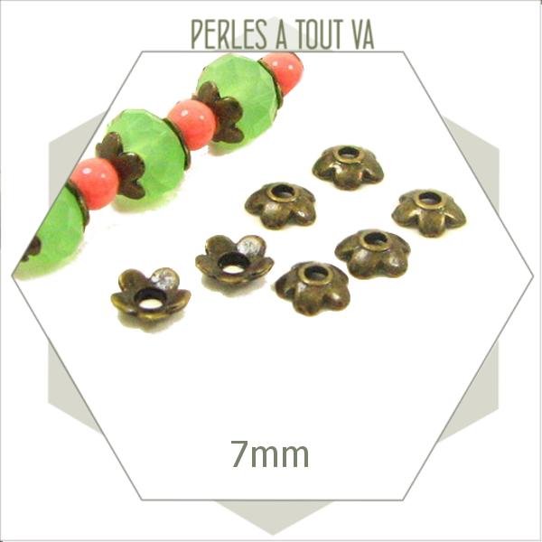 30 chapeau perles fleurs bronze