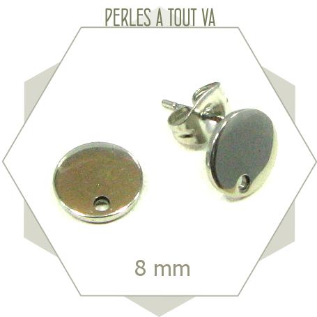 12 clous de boucles d'oreilles cercle en acier inox