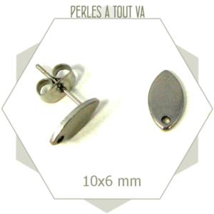 12 clous de boucles d'oreilles navettes en acier inox