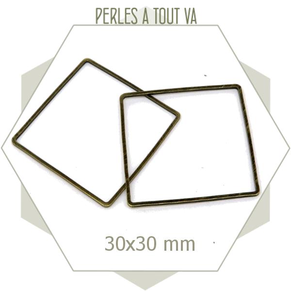 18 Anneaux fermés carrés - 30 mm - bronze - connecteurs