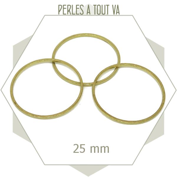Lot de 20 anneaux fermés cercle 25mm laiton brut doré-connecteurs