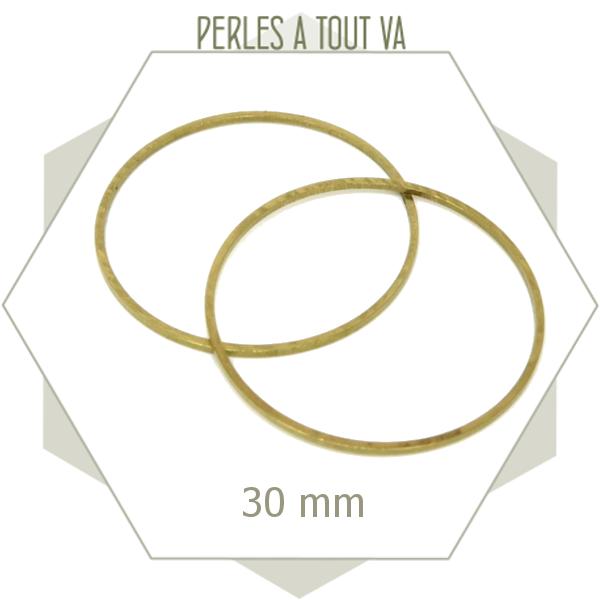 12 anneaux fermés cercle 30 mm laiton brut doré - connecteurs