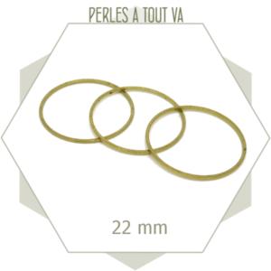 20 anneaux fermés cercle 22 mm laiton brut doré, connecteurs