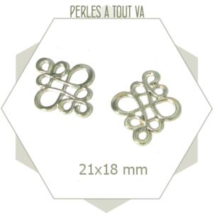10 connecteurs arabesques argentés, motif volutes