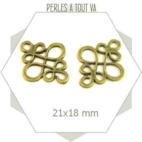 10 breloques connecteurs arabesques bronze