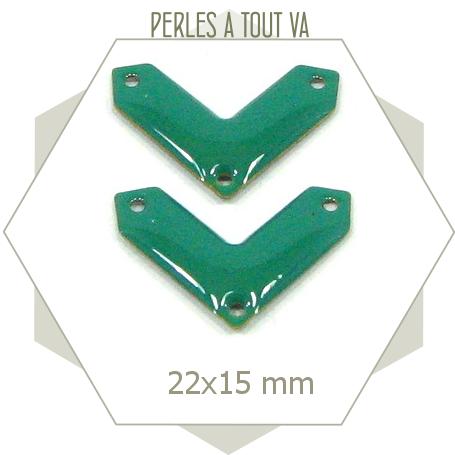 6 connecteurs chevrons émaillés turquoise vif, forme V à 3 trous pour bijoux