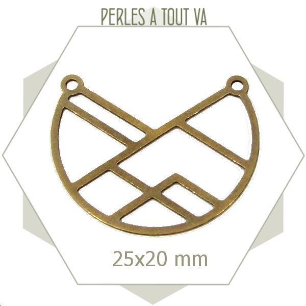 8 connecteurs arc de cercle géométriques bronze, chat