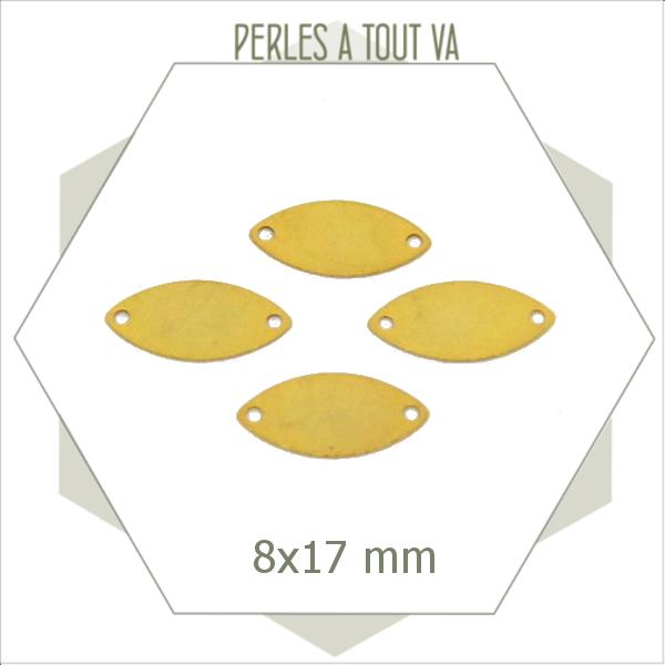 8 breloques navettes lisses dorées connecteurs