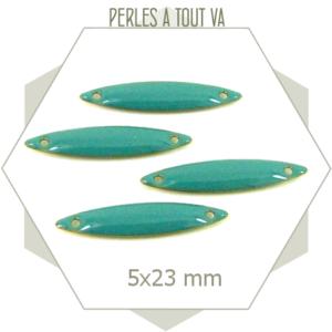 6 connecteurs sequins navettes émaillés turquoise