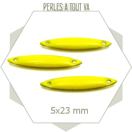 6 connecteurs navettes émaillées jaune citron, sequins émaillés 2 côtés
