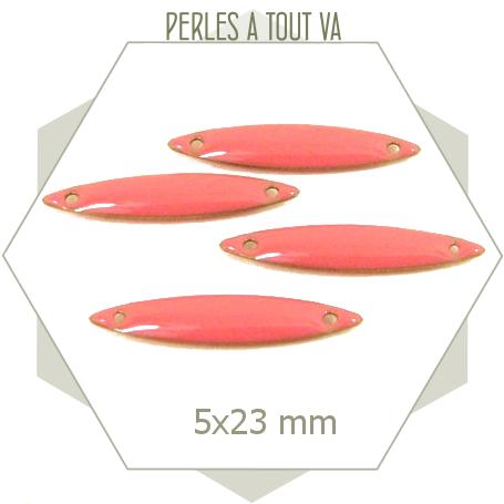 6 connecteurs sequins navettes émaillés rose corail
