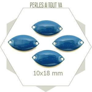 6 navettes émaillées 10x18mm bleu canard 2 trous