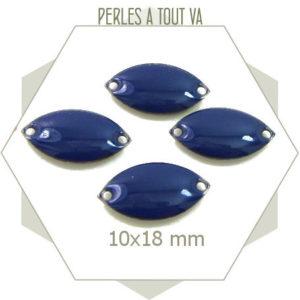 6 navettes émaillées 10x18mm bleu nuit 2 trous