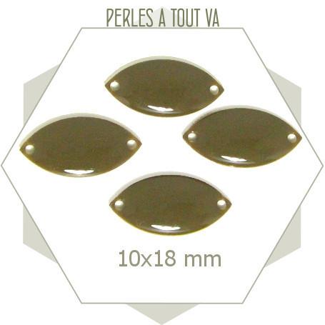 6 navettes émaillées 10x18mm gris taupe 2 trous