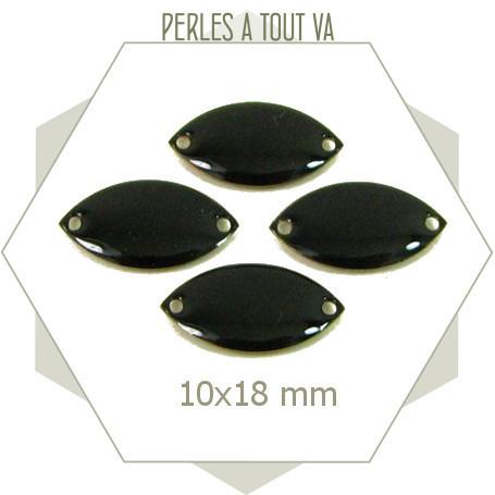 6 navettes émaillées 10x18mm noires 2 trous