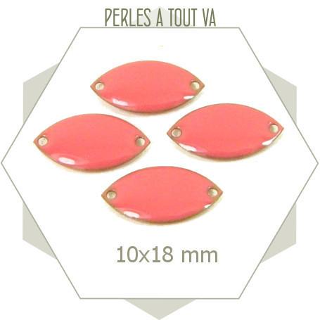 6 navettes émaillées 10x18mm rose corail 2 trou