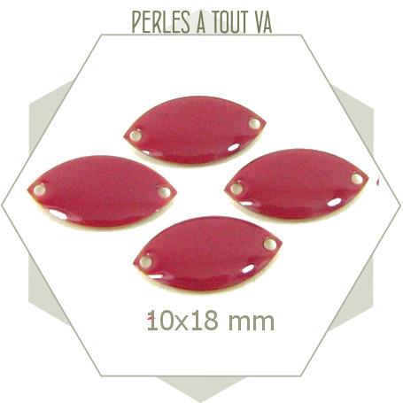 6 connecteurs émaillés 10x18mm rose framboise 2 trous