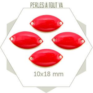 6 navettes émaillées 10x18mm rouge vif 2 trous