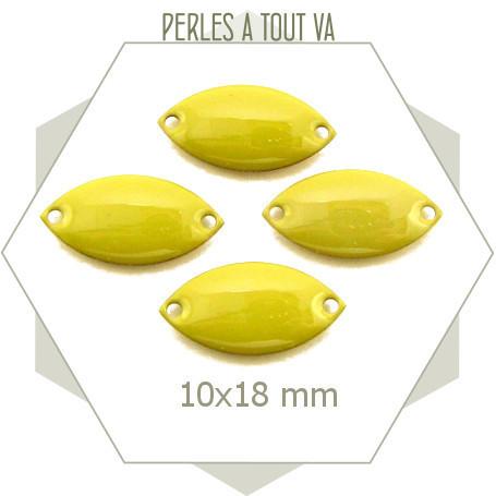 6 navettes émaillées 10x18mm vert tilleul 2 trous