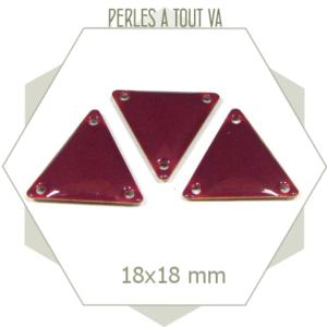 6 connecteurs triangles émaillés framboise foncé, sequins géométriques pour bijoux
