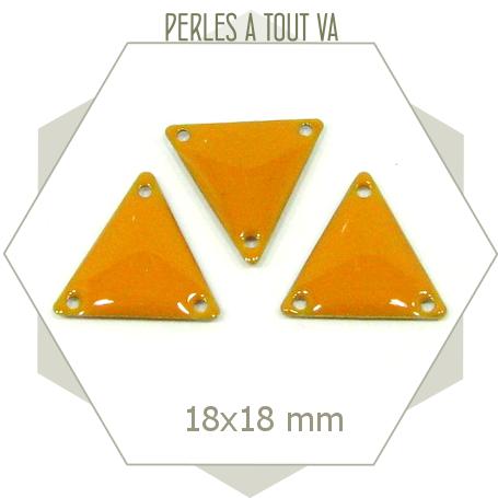 6 Connecteurs triangles émaillés jaune foncé, matériel pour bijoux