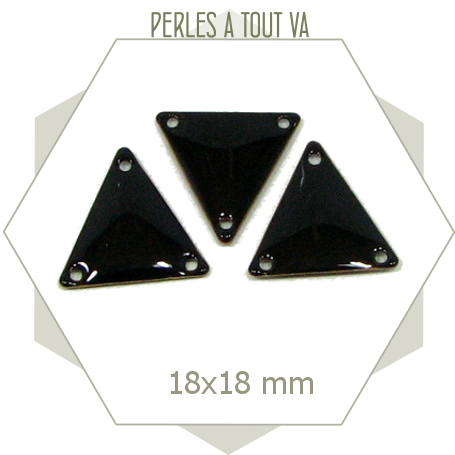 6 connecteurs triangles noirs, breloques émaillées pour créations uniques