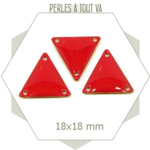 6 Connecteurs triangles émaillés rouge brique, breloque 3 côtés 3 trous