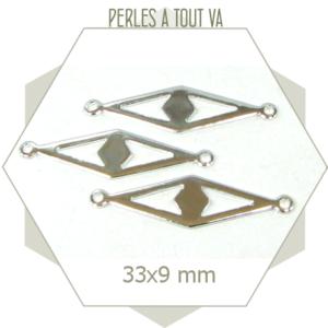 4 connecteurs losange argent, motif oeil égyptien