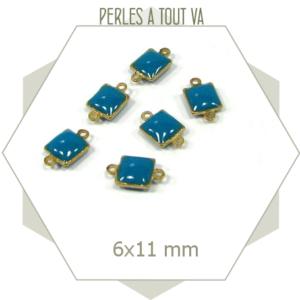10 connecteurs émaillés carrés bleus
