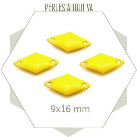 6 sequins émaillés jaune citron