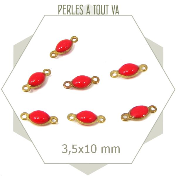10 minis connecteurs émaillés ovales rouge