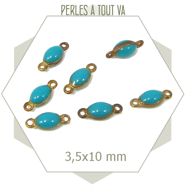 10 minis connecteurs ovales bleu turquoise