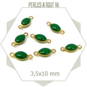 10 minis connecteurs émaillés ovales vert
