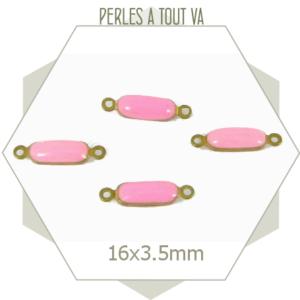 10 minis connecteurs émaillés rectangles roses