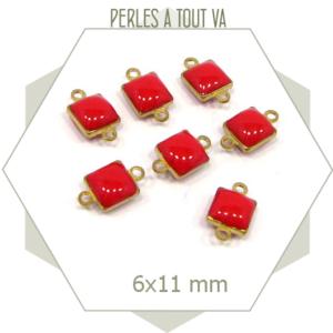 10 connecteurs émaillés carrés rouges