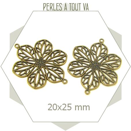 Lot de 6 estampes florales connecteurs, éléments ronds couleur bronze