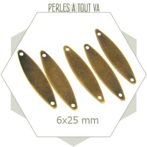 8 breloques navettes lisses  bronze