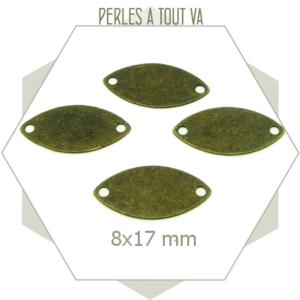 8 connecteurs ovales allongées couleur bronze, matériel pour bijoux originaux